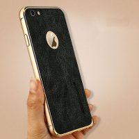 Hliníkový bumer s koženou zadnou fóliou JISONCASE pre iPhone 6 : 6S1