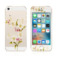 Ochranný dekoračný sklenený set pre iPhone 5:5S:SE so vzorom kvetín1