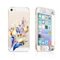Ochranný dekoračný sklenený set pre iPhone 5:5S:SE so vzorom kytice1