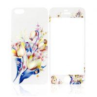 Ochranný dekoračný sklenený set pre iPhone 5:5S:SE so vzorom kytice2