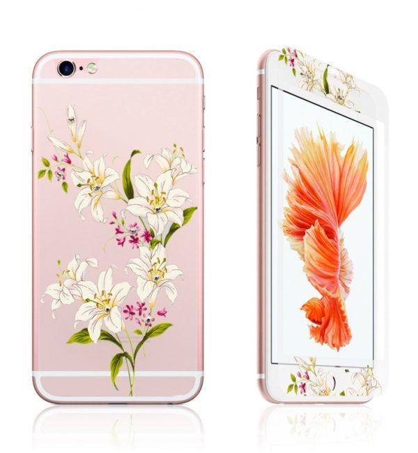 Ochranný dekoračný sklenený set pre iPhone 6:6S so vzorom kvetín1