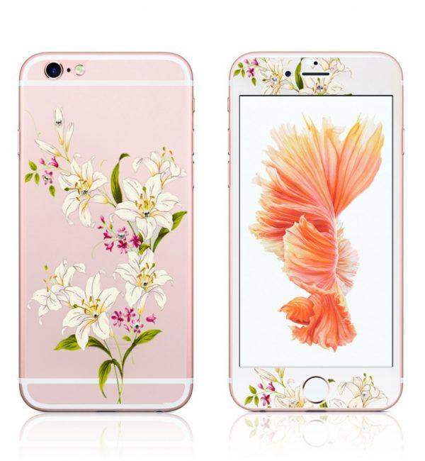Ochranný dekoračný sklenený set pre iPhone 6:6S so vzorom kvetín2