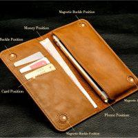 Peňaženkové púzdro JISONCASE pre iPhone 6 : 6S : 6 Plus : 6S Plus z pravej kože, bežová farba1