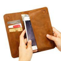Peňaženkové púzdro JISONCASE pre iPhone 6 : 6S z pravej kože, hnedá farba1
