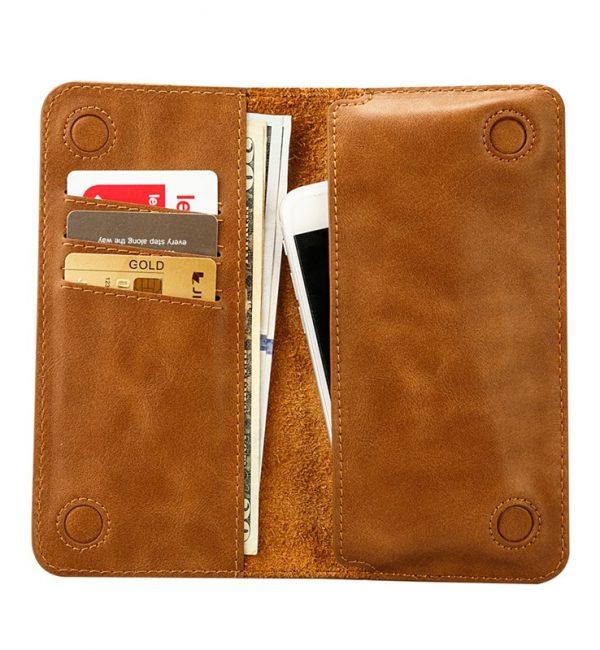 Peňaženkové púzdro JISONCASE pre iPhone 6 : 6S z pravej kože, hnedá farba3