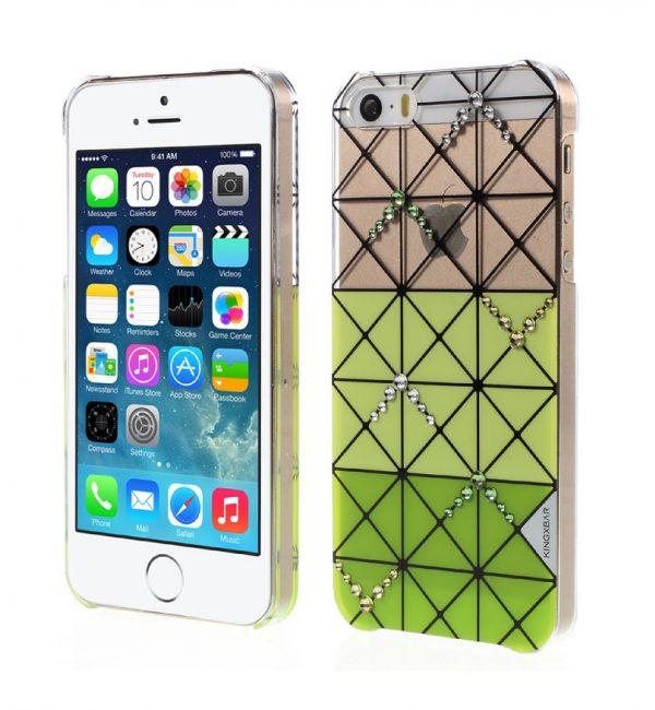 Plastový obal s kryštálmi KINGXBAR pre iPhone 5:5S:SE, Zelená farba