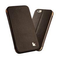Púzdro vo forme stojana JISONCASE pre iPhone 6 : 6S z pravej kože, hnedá farba3