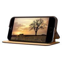 Púzdro vo forme stojana JISONCASE pre iPhone 6 : 6S z pravej kože, hnedá farba4