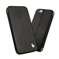 Púzdro vo forme stojana JISONCASE pre iPhone 6 Plus : 6S Plus z pravej kože, čierna farba3