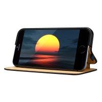 Púzdro vo forme stojana JISONCASE pre iPhone 6 Plus : 6S Plus z pravej kože, čierna farba4