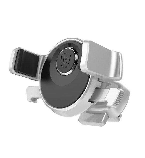 360 stupňový otočný držiak do ventilátora auta BASEUS, strieborná farba