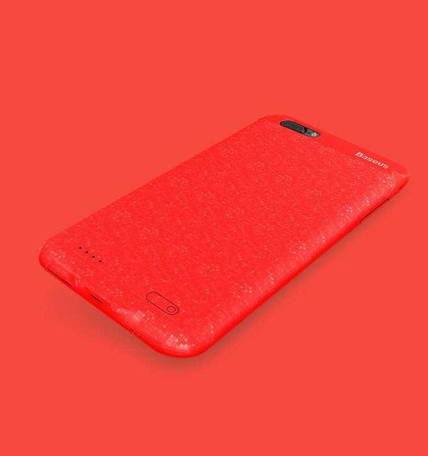 Dobíjací obal BASEUS na iPhone 7 Plus a 8 Plus v červenej farbe, 3650 mAh