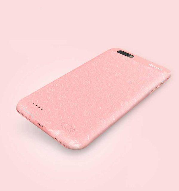 Dobíjací obal BASEUS na iPhone 7 Plus a iPhone 8 plus v ružovej farbe, 3650 mAh