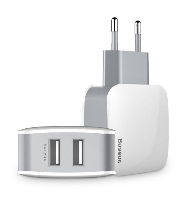 Dvojportový adaptér BASEUS na mobilné telefóny v bielej farbe (2)