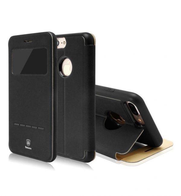 Flip púzdro s možnosťou zdvihnutia hovoru BASEUS pre iPhone 7 v čiernej farbe