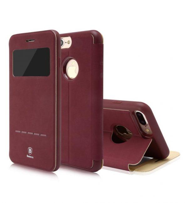 Flip púzdro s možnosťou zdvihnutia hovoru BASEUS pre iPhone 7 v bordovej farbe