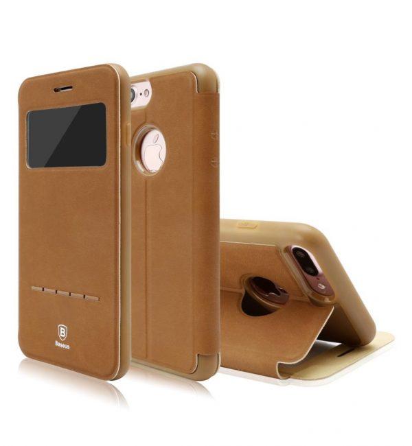 Flip púzdro s možnosťou zdvihnutia hovoru BASEUS pre iPhone 7 v hnedej farbe