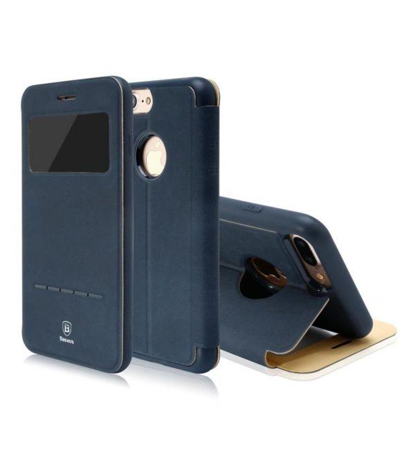 Flip púzdro s možnosťou zdvihnutia hovoru BASEUS pre iPhone 7 v modrej farbe