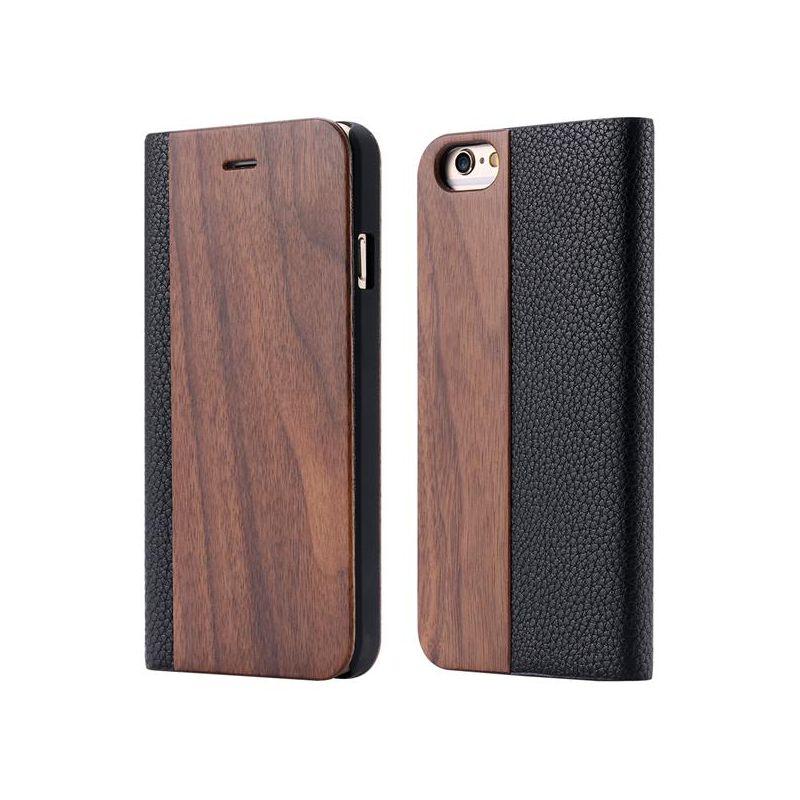 Knižkové drevené púzdro na iPhone 7 Plus z tmavého dreva 6f6fdca4b05