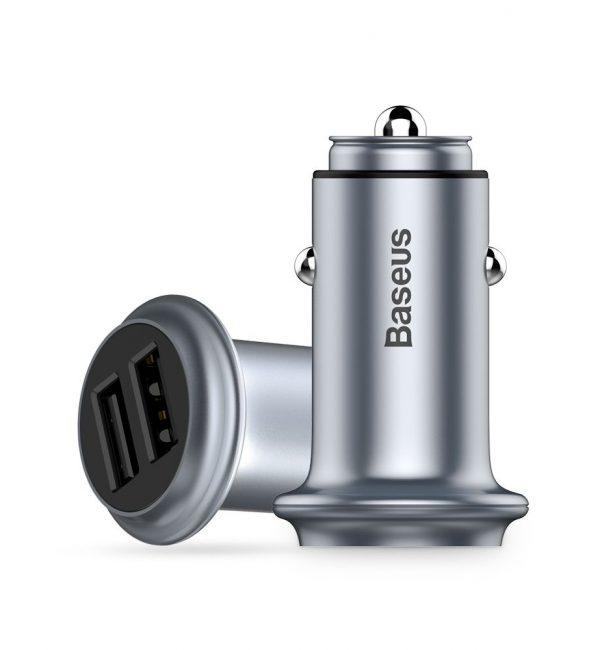 Kvalitný adaptér do auta BASEUS, 2 porty v chrómovej farbe (2)