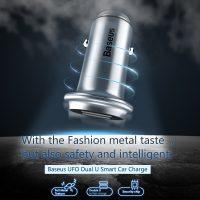 Kvalitný adaptér do auta BASEUS, 2 porty v chrómovej farbe (3)