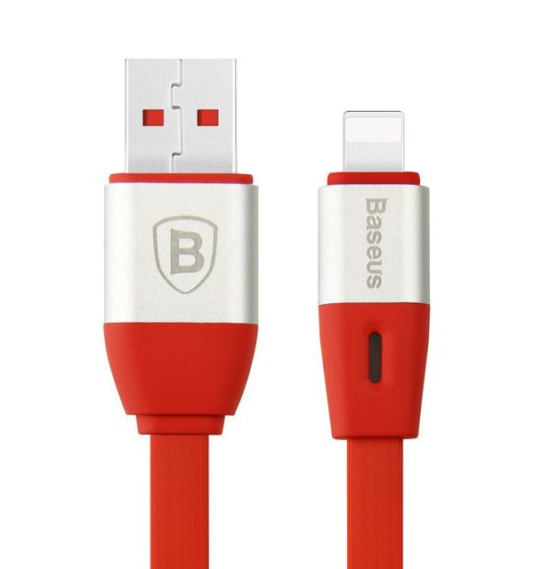 Lightning inteligentný nabíjací kábel BASEUS, 100cm, červená farba