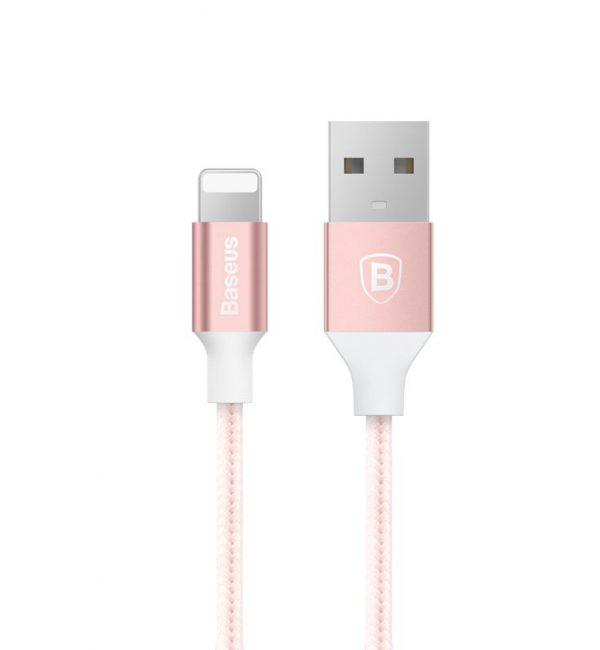 Lightning nabíjací kábel BASEUS, 100cm, nylon, ružová farba (2)