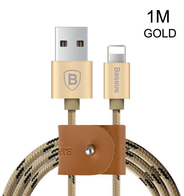 Lightning nabíjací kábel BASEUS, 100cm, textilný v zlatej farbe