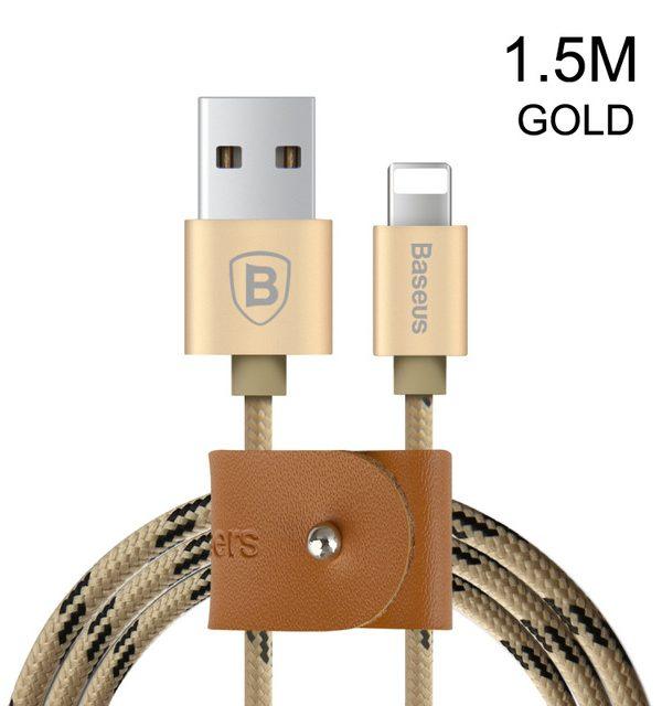 Lightning nabíjací kábel BASEUS, 150cm, textilný v zlatej farbe