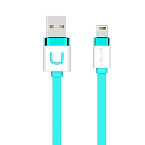Lightning nabíjací kábel USAMS, 100cm, tyrkysová farba