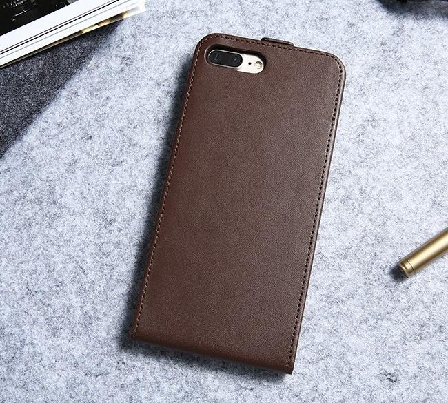 Luxusné púzdro zo syntetickej kože pre iPhone 7 Plus v hnedej farbe ... 056abb236fe