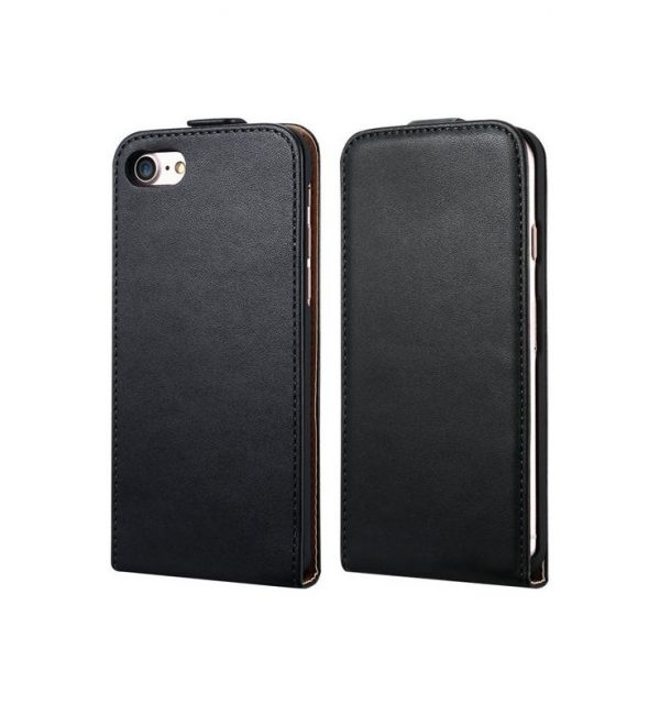 Luxusné púzdro zo syntetickej kože pre iPhone 7 v čiernej farbe (2)