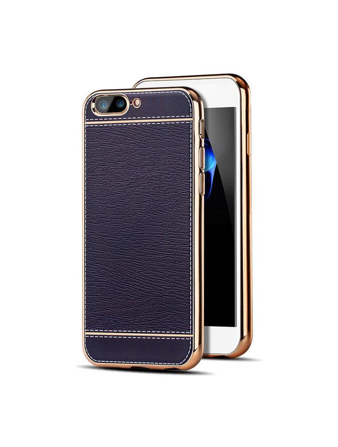 Luxusný silikónový kryt Cafele s koženým motívom pre iPhone 7 modrý ... 6ebdd196031