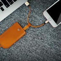 Nabíjací Lightning kábel, 20cm, púzdro zo syntetickej kože na iPhone alebo iPad (1)