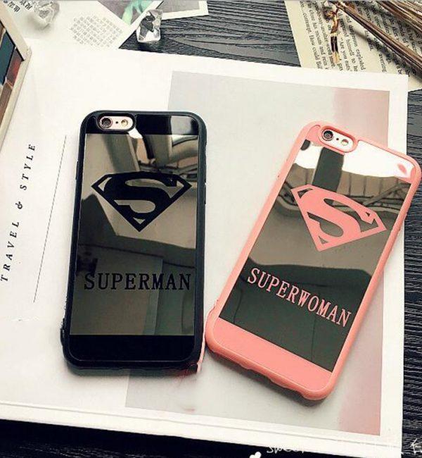 Silikónový zrkadlový obal Superman a Superwoman pre iPhone 7 (1)