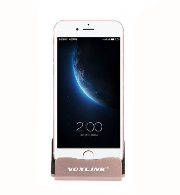 Dokovacia stanica a stojan pre iPhone a iPad, ružová farba