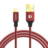 Lightning šnúrkový nabíjací kábel FLOVEME, 120cm, textilný v červenej farbe (1)