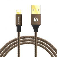 Lightning šnúrkový nabíjací kábel FLOVEME, 120cm, textilný v hnedej farbe (1)