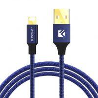 Lightning šnúrkový nabíjací kábel FLOVEME, 120cm, textilný v modrej farbe (1)