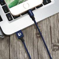 Lightning šnúrkový nabíjací kábel FLOVEME, 120cm, textilný v modrej farbe (2)
