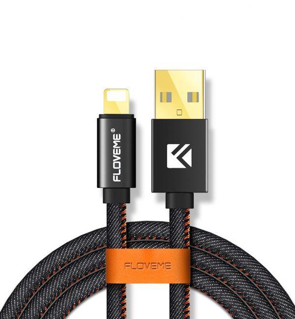 Lightning nabíjací kábel FLOVEME, 100cm, kožený v čiernej farbe (1)