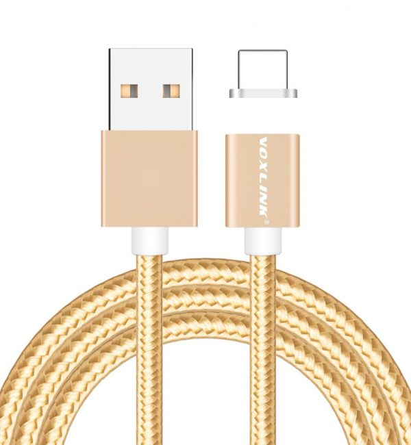 Magnetický nabíjací lightning kábel VOXLINK pre iPhone a iPad v zlatej farbe