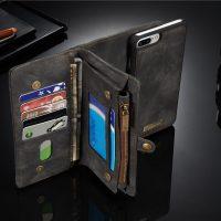Peňaženka a magnetický obal na iPhone 66S z kože v čiernej farbe (4)