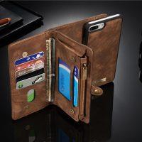 Peňaženka a magnetický obal na iPhone 66S z kože v hnedej farbe (3)