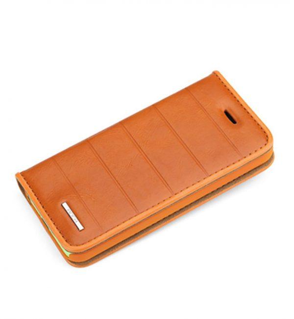 Praktické púzdro ROCK na iPhone 5C z kože v pomarančovej farbe (1)