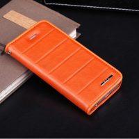 Praktické púzdro ROCK na iPhone 5C z kože v pomarančovej farbe (2)