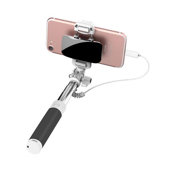 Selfie tyč so zrkadlom ROCK pre iPhone 7 7plus v čiernej farbe
