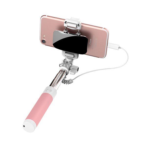 Selfie tyč so zrkadlom ROCK pre iPhone 7 7plus v ružovej farbe