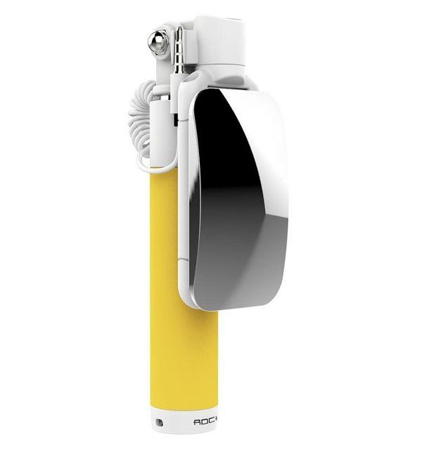 Selfie tyč so zrkadlom pre smartfón ROCK v žltej farbe