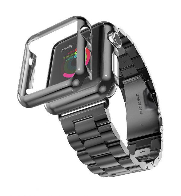 Luxusný ochranný kryt pre Apple Watch 38mm, Series 2 v čiernej farbe